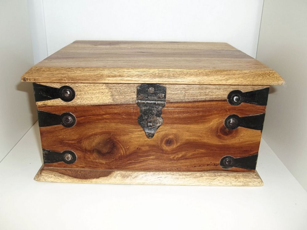 Large Natural Finish Wooden Storage Box